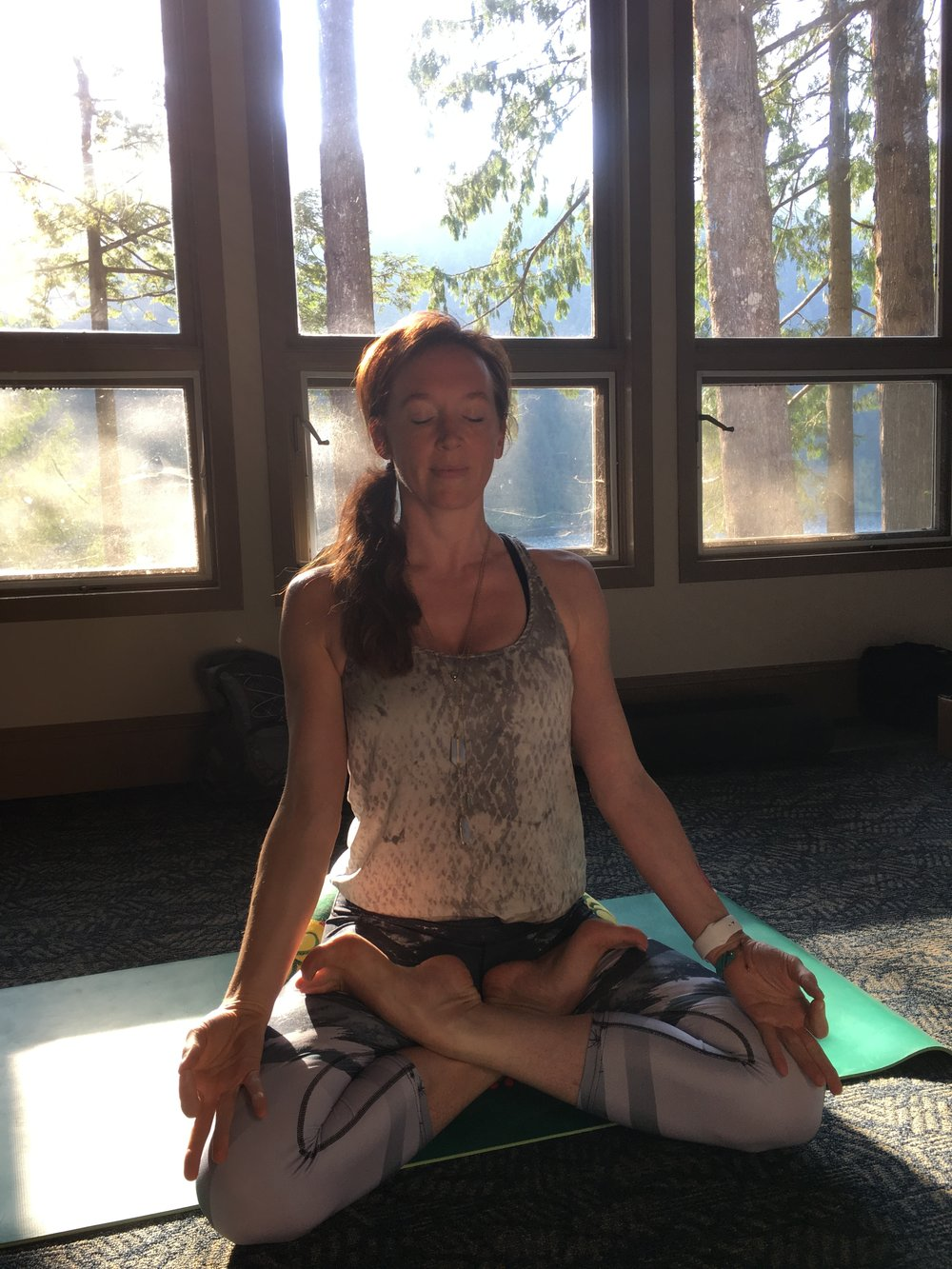 Me meditating in the forest yoga room.
