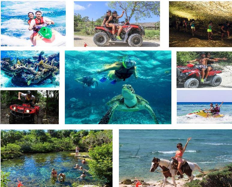 ¡ ALL FUN ! - Motos acuáticas, un hermoso cenote y nadar en fascinantes cavernas, recorrido en AVT por paisajes selváticos, luego otro recorrido a caballo y finalmente admirar el fantástico mundo marino.¡todo en un mismo día!Más detalles aquí.