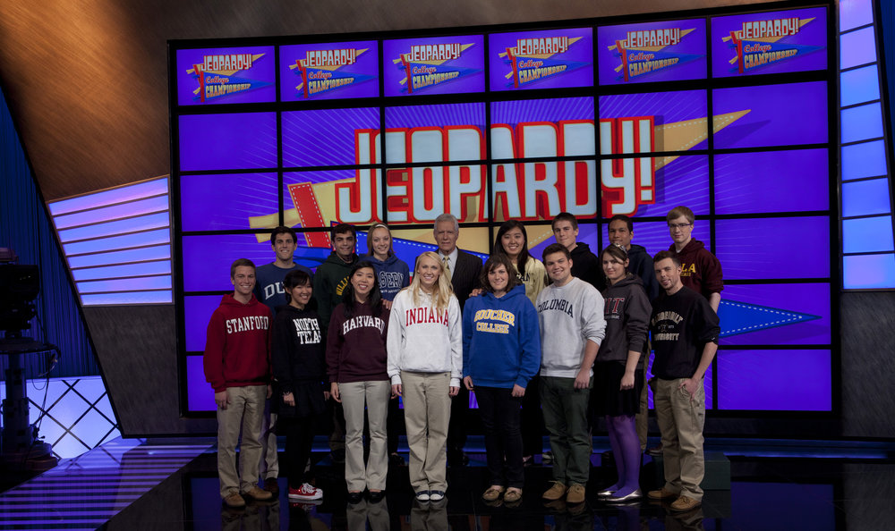 The 2012 Jeopardy college cohort: 14 winsome undergraduates, and also me.
