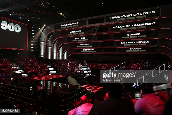 A view of the stage & game board. That's tiny Ken Jennings down there! (Yes, the image is not mine. Whatever.)