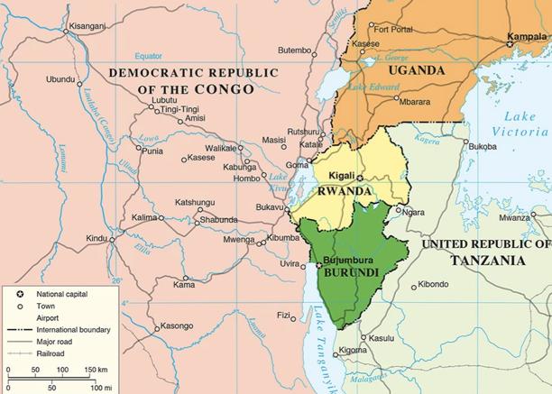 Map of the African Great Lakes region, including Burundi, Eastern DRC, Rwanda, South-Western Uganda, and North-Western Tanzania