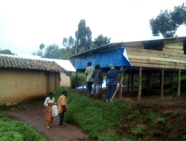 Image of one of 6 rabbit farms AIMPO constructed in Twa/HMP villages in Gicumbi district in 2018
