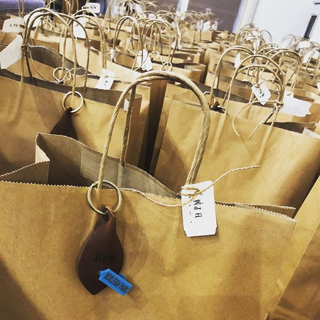 • GOODIE BAGS PACKED • One of these beauties will be gifted to each and every successful bidder at our 2nd Annual Ram Sale tomorrow. Our clever friends @saddlerandco have designed and handcrafted our 2018 Leather Keyrings which resemble a lambs ear. #wellingtonnsw #gifting #gratitude #handcrafted #leather #locallymade