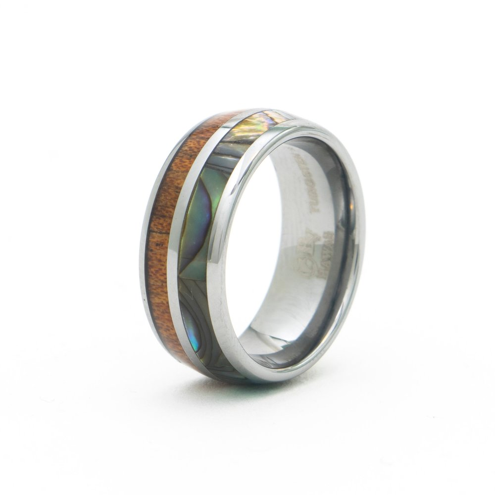 Koa Wood Abalone Shell Ring