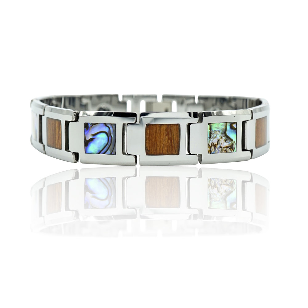 Tungsten Link Bracelet with Koa Wood and Abalone Shell inlay
