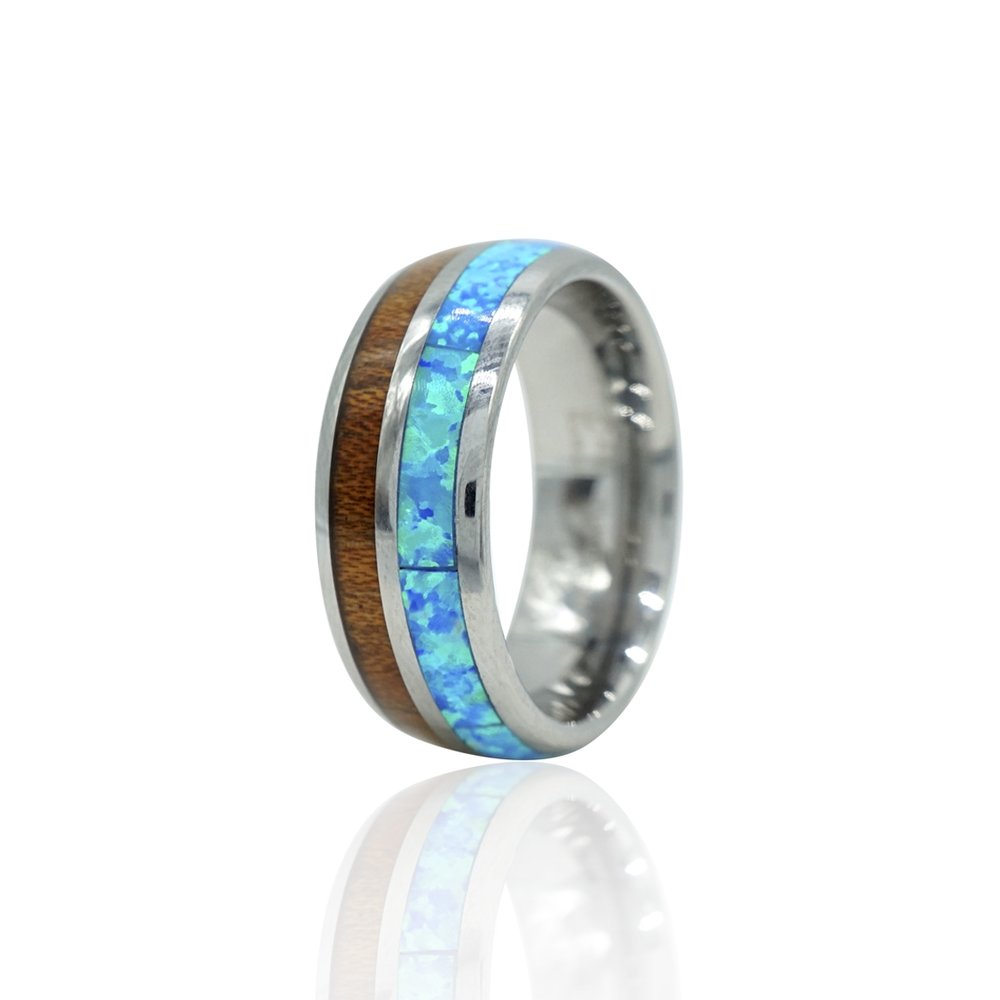 Tungsten Ring with Koa Wood and Opal inlay