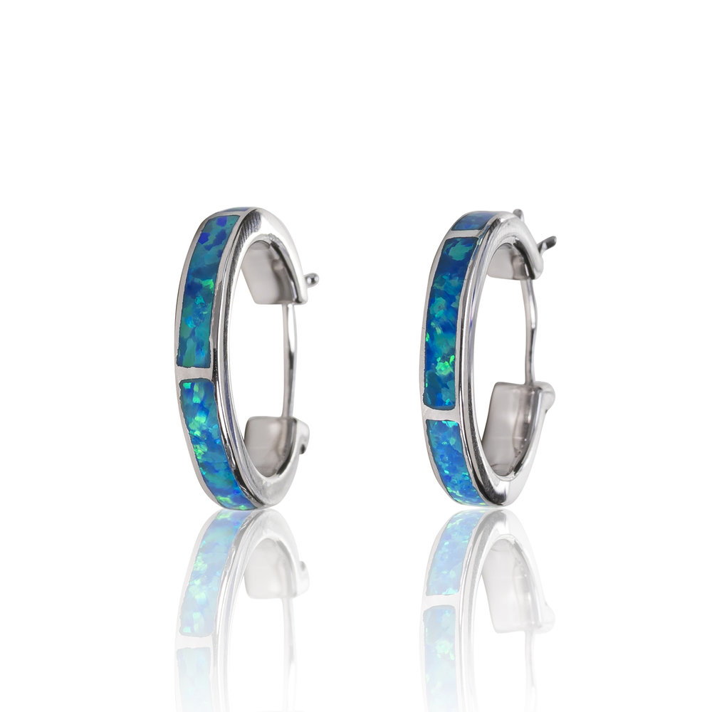 BLUE OPAL HOOP EARRINGS IN STERLING SILVER