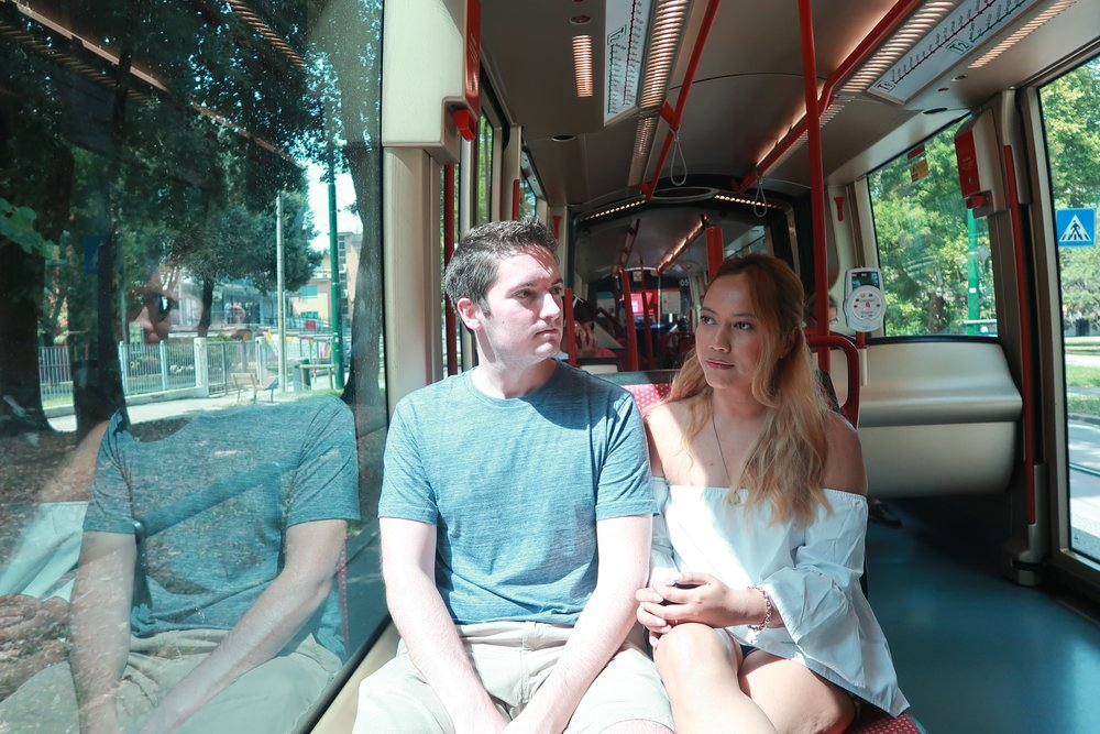 Despite how bored we look here, we really loved taking the tram into the city every day!