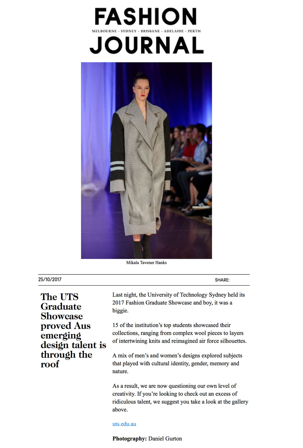 FASHION JOURNAL | THE UTS GRADUATE SHOWCASE