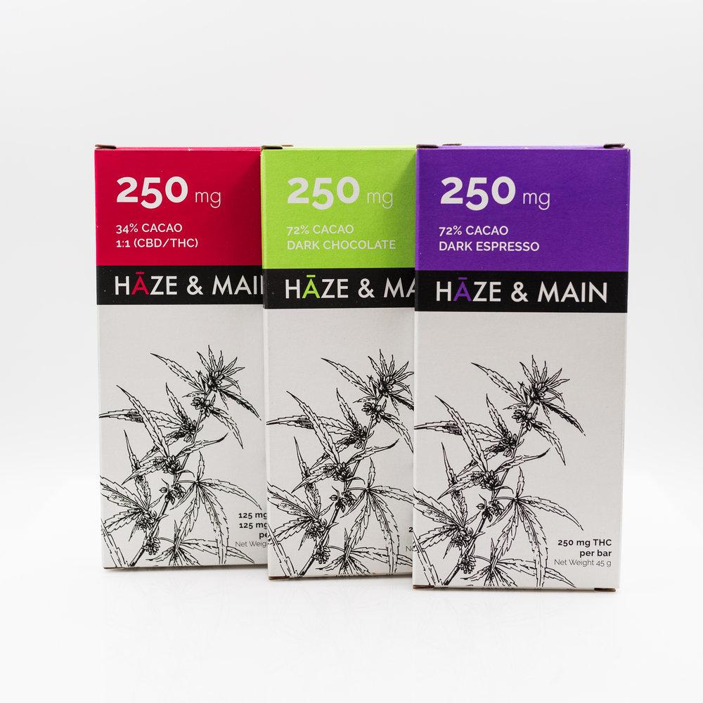 Pictured: Haze & Main 250 mg bars in 1:1 CBD/THC, Dark Chocolate, and Dark Espresso
