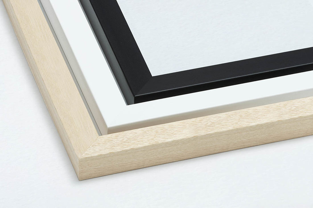 RAW, WHITE AND BLACK FRAMES - Substantial and solid framing 3cm wide and 3cm deep (approx.) Hand framed here in Sydney and ready to hang on your wall.
