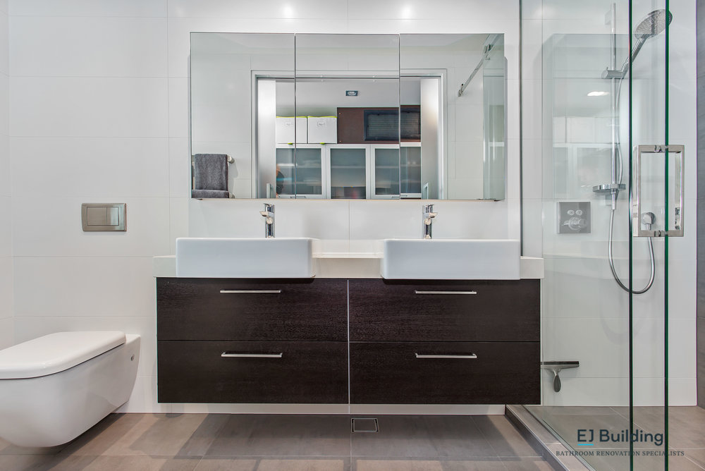 E J Building Bathroom & Ensuite renovators, designers, project management, carpenters, plumbers, electricians, tilers, under tile heating, waterproofers, plasters, cleaners.