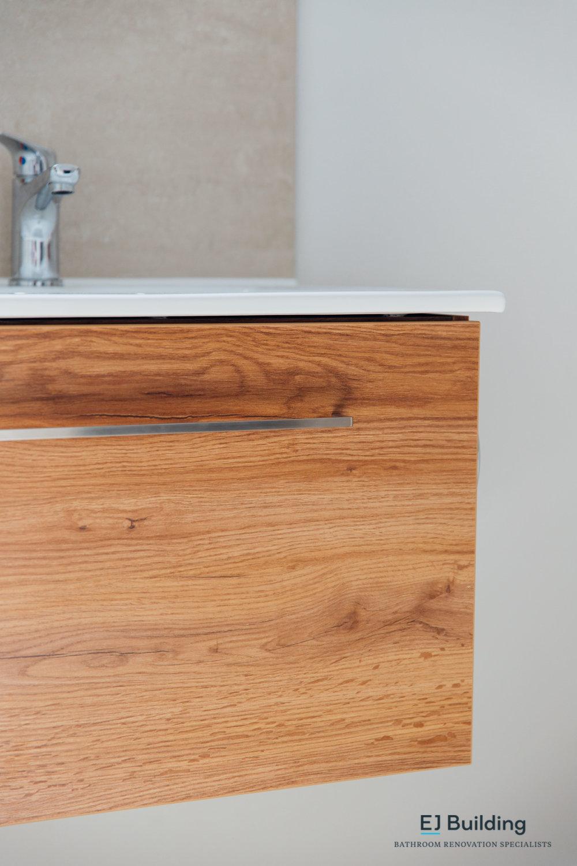 timber wall hung bathroom vanity, from auckland based bathroom renovation company.