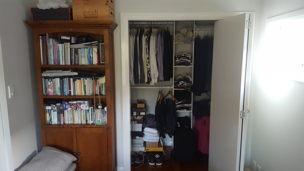 turning a wardrobe into an ensuite bathroom. Before and after photos