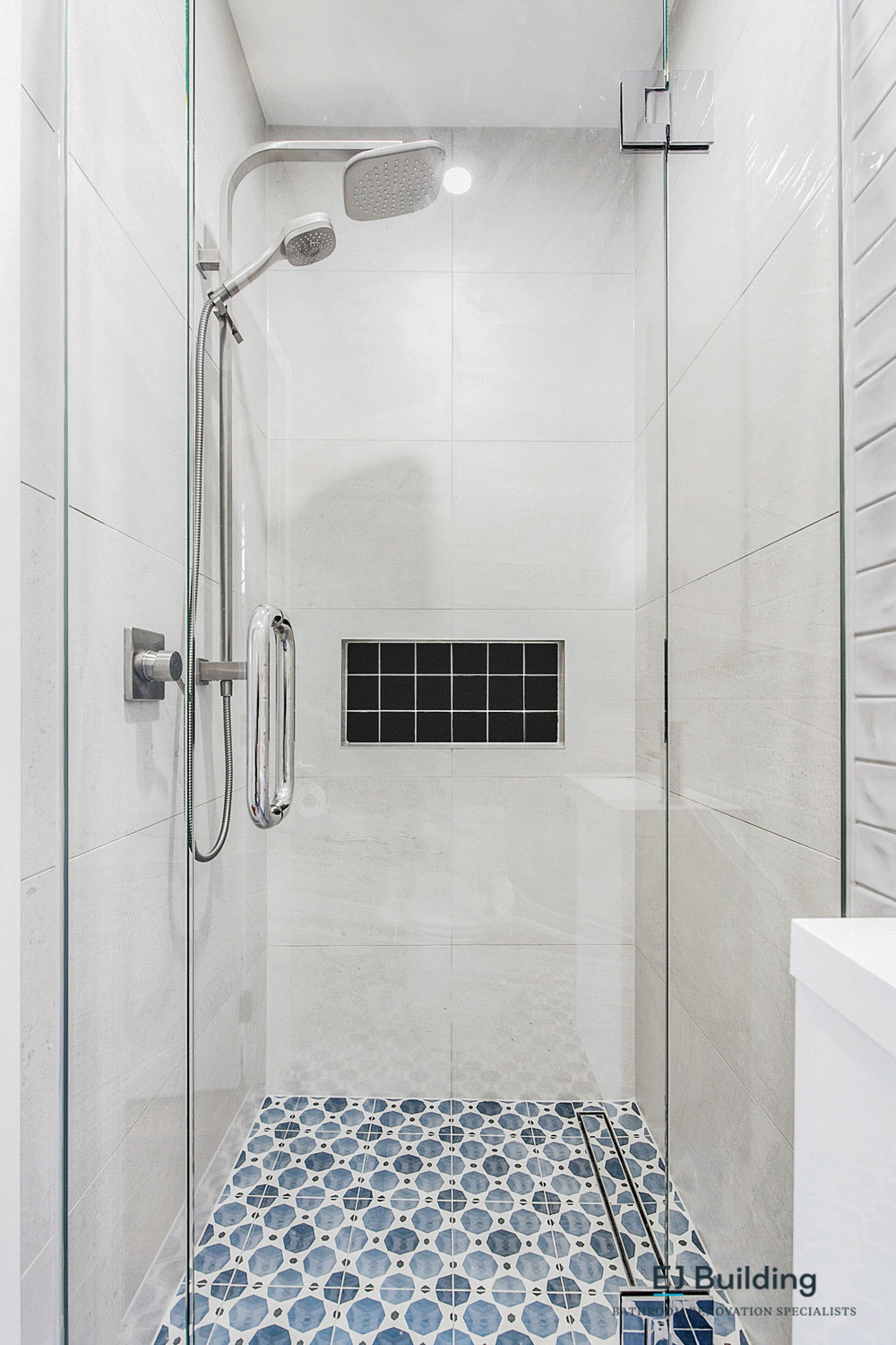 Bathroom classic design with tile channel / slot drain.