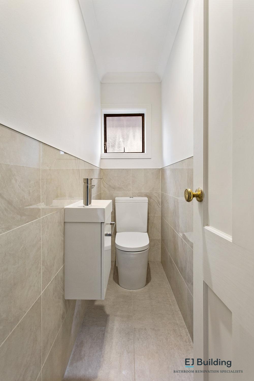 Ellerslie bathroom renovator Auckland. BTW toilet with narrow W/C vanity.