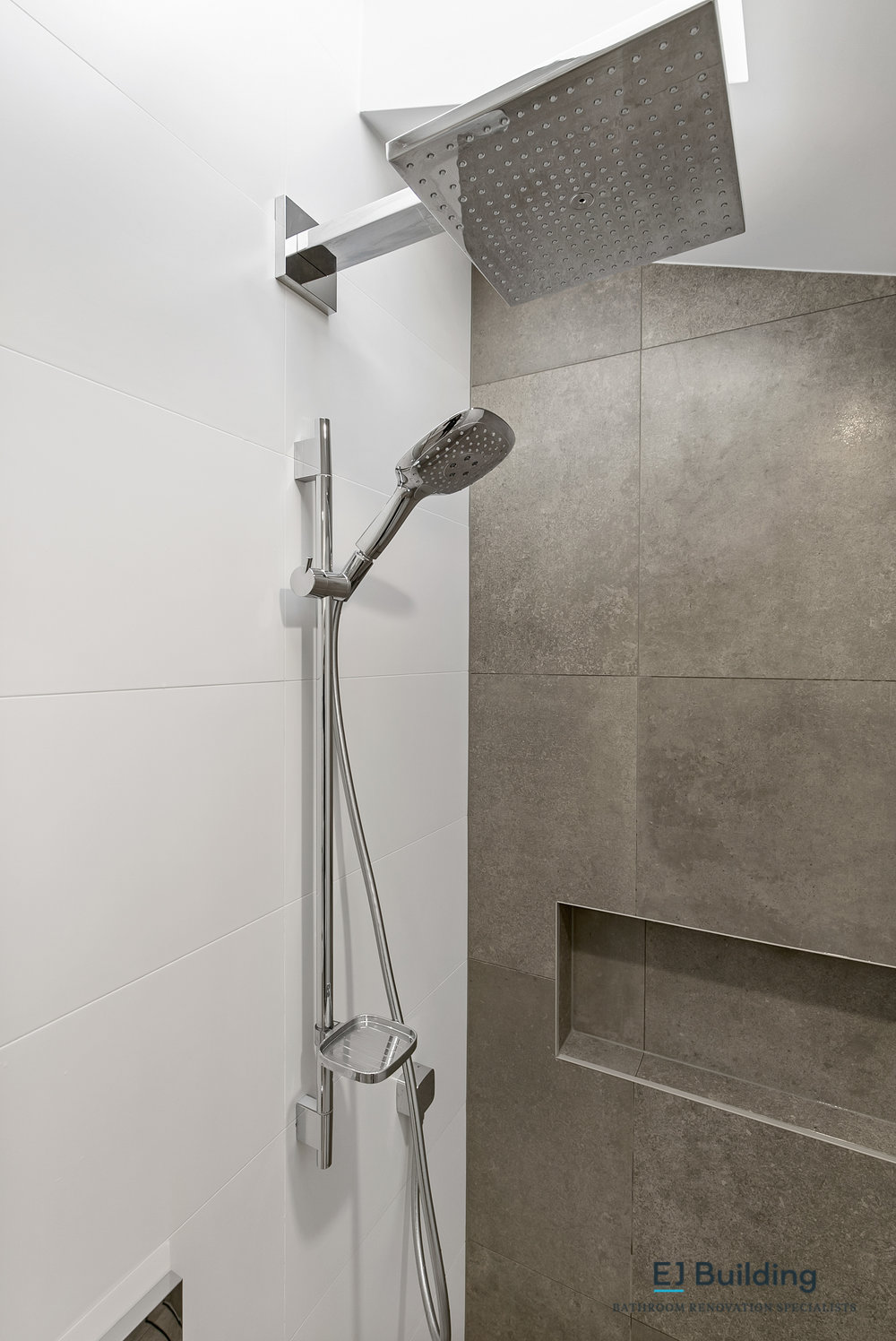 Ellerslie bathroom renovator Auckland. Two shower heads with large dump shower, and classic slide shower . Bathroom Renovation by E J Building Bathroom renovators In Auckland.