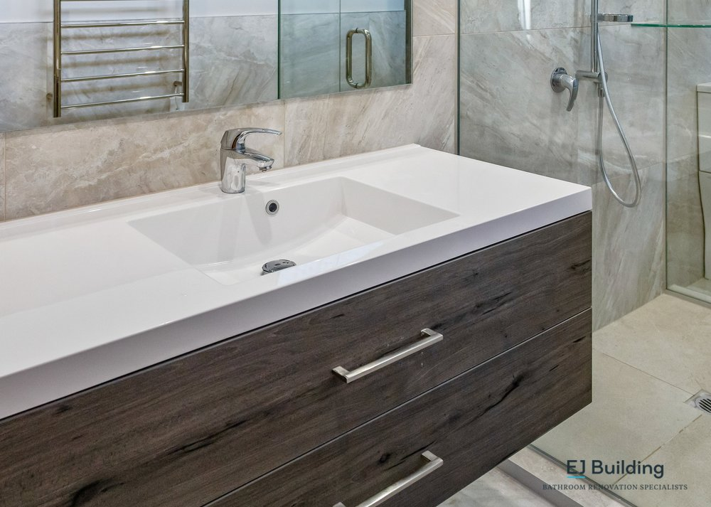 Timber vanity from Franklin Bathroomware Auckland. With Hansa tapware.