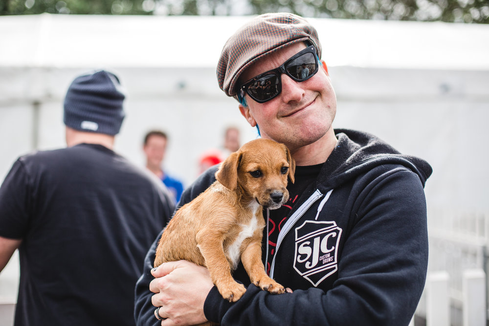 Tre Cool of Green Day with a 12 week old pupper from ASISSI animal sanctuary