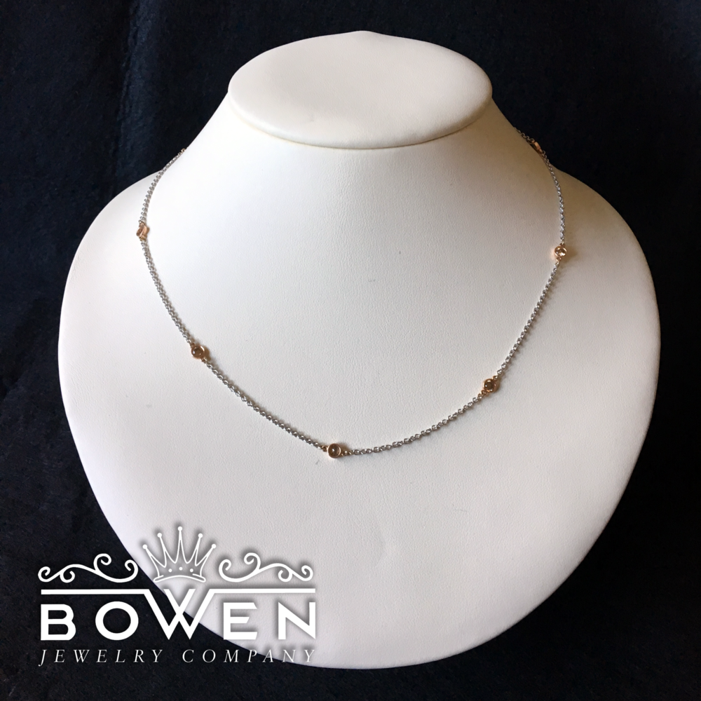 Bowen Chocolate Diamond Necklace - Custom made for Endstation this 14 K white gold necklace features 7 chocolate diamonds set in gold bezels.(appraisal included and can be transferred to winner's name)
