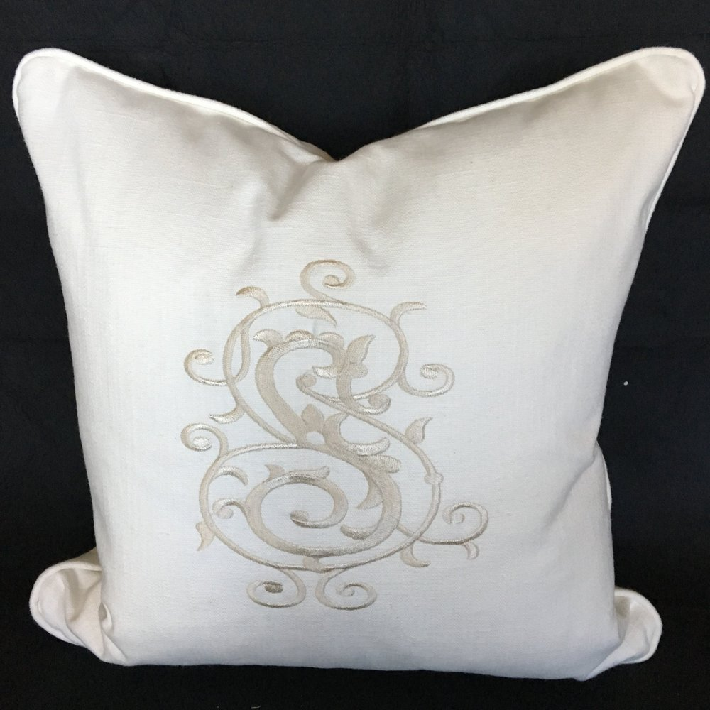 Custom Monogrammed Pillow - Custom embroidered pillow to match your monogram.Provided by Southern Provisions