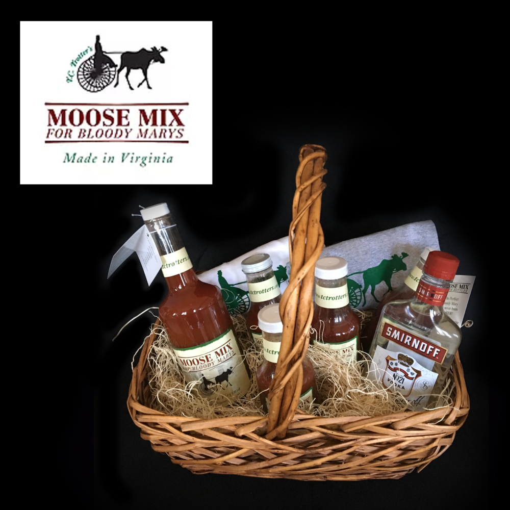 "Moose Mix Basket - Large Moose Mix, 4 individual serving bottles, 1 bottle of Smirnoff vodka""His and Hers"" TC Trotters t-shirts"