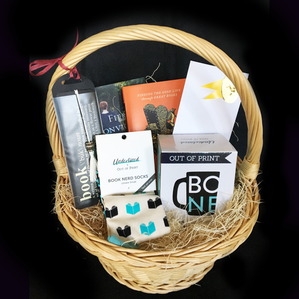 Book Lover's Basket - $50.00 Givens Books gift certificateBook Nerd mug and socksSigned books by Karen Swallow Prior, Deidra Riggs, and Michelle DerushaBookmark