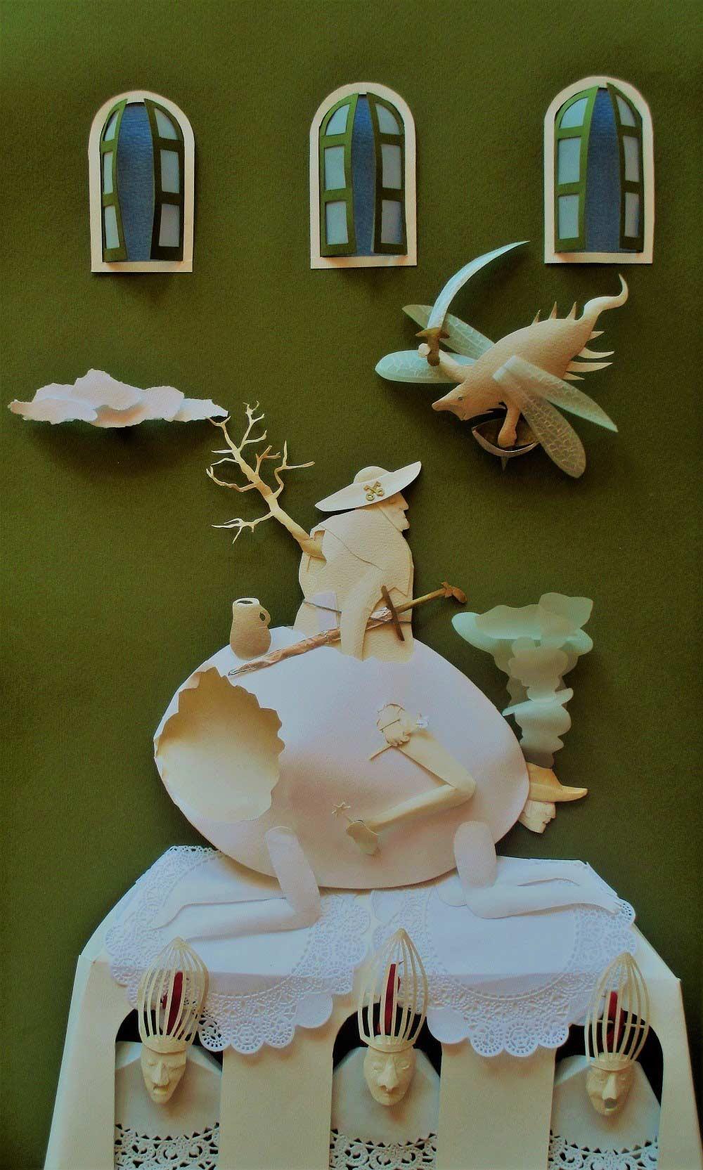 Las Trampas de la Fe Escultura-de-papel 61.5cm x37.5cm