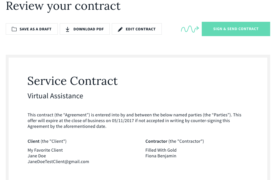 And Co generating a contract
