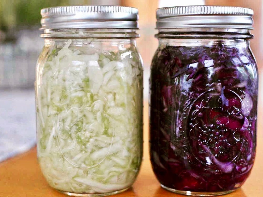 sauerkraut and purple sauerkraut