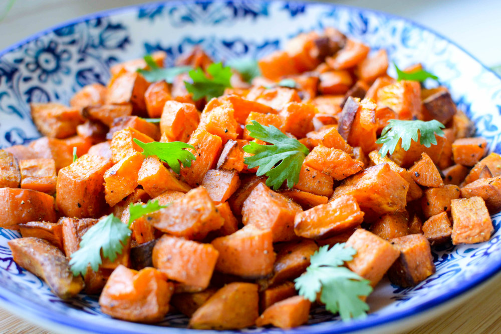 roasted ginger, cumin and coriander sweet potatoes