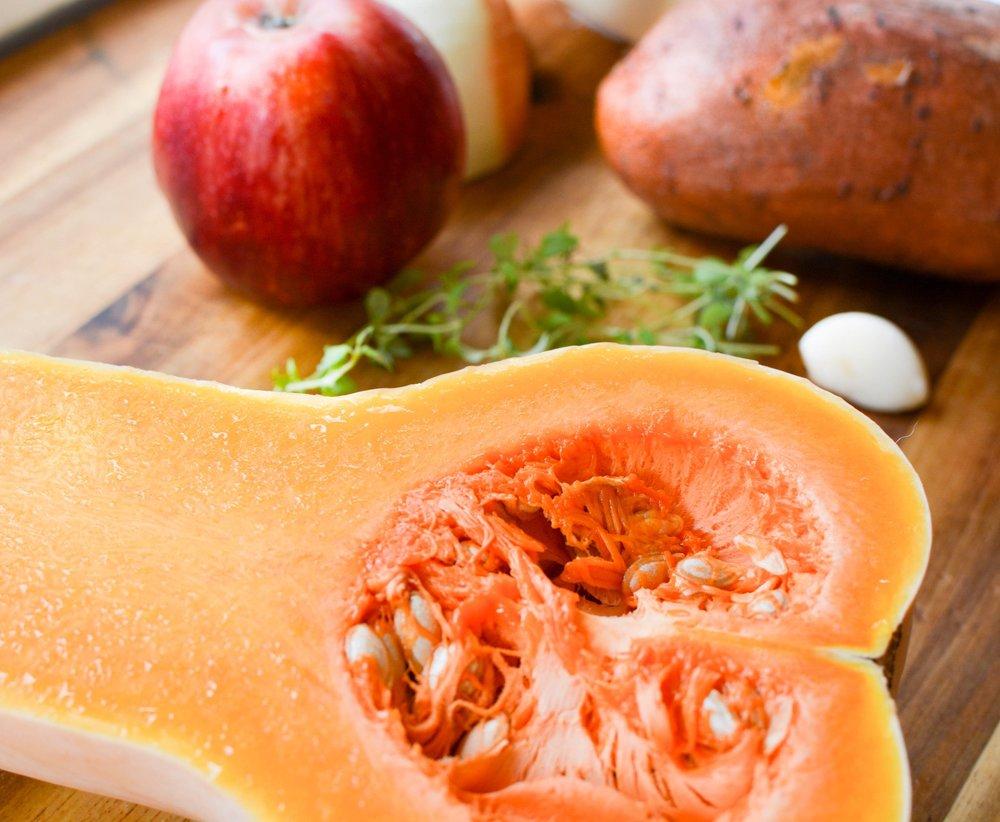 squash, apple, sweet potato, thyme, onion and garlic