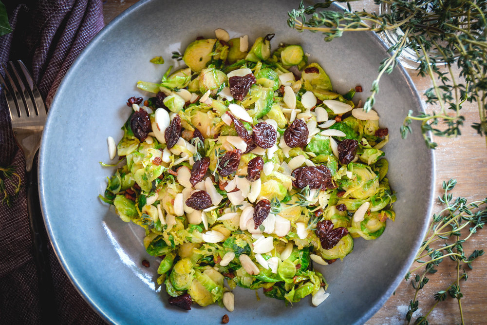 brussels sprouts salad with bacon and dried cherries