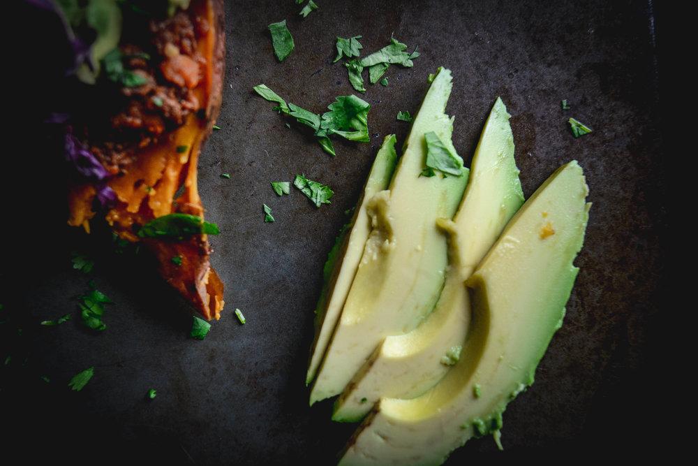 avocado slices and cilantro