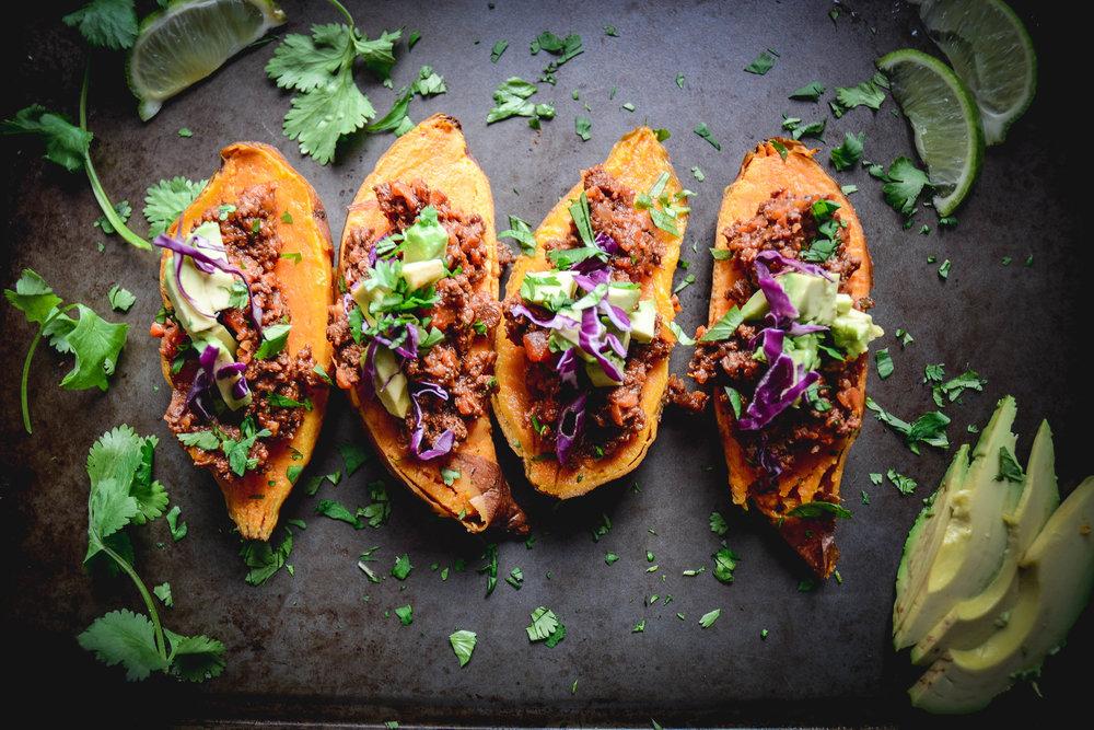 sweet potatoes, avocado and cilantro