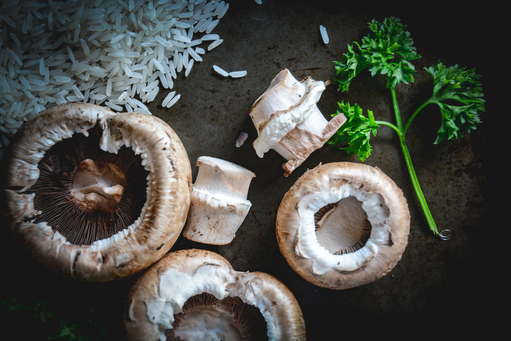 rice, mushrooms and parsley