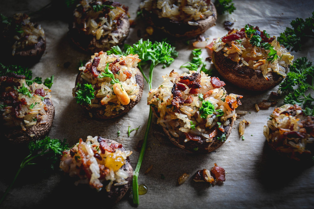 stuffed mushrooms, parsley