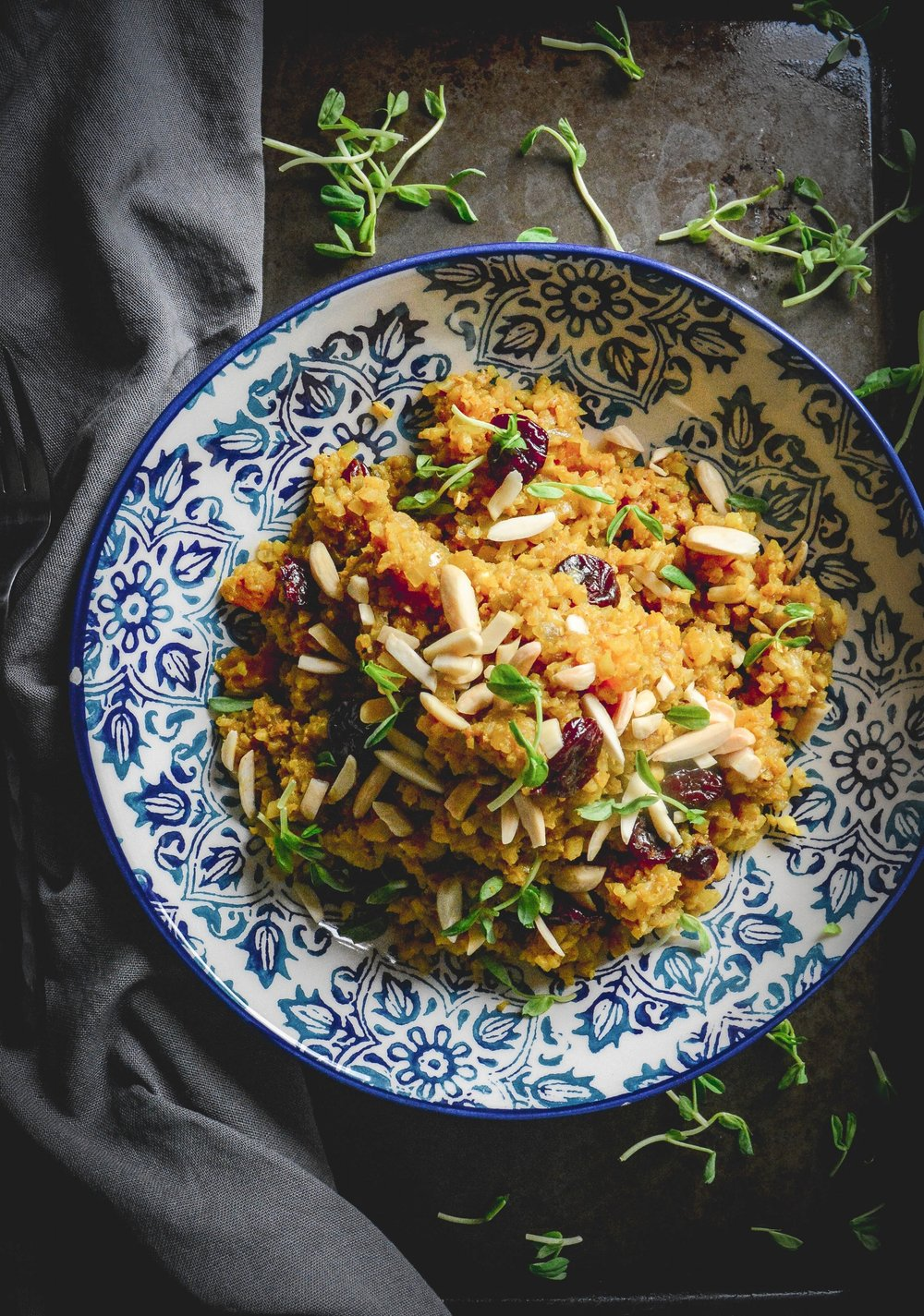 Moroccan cauliflower couscous with cherries and apricots