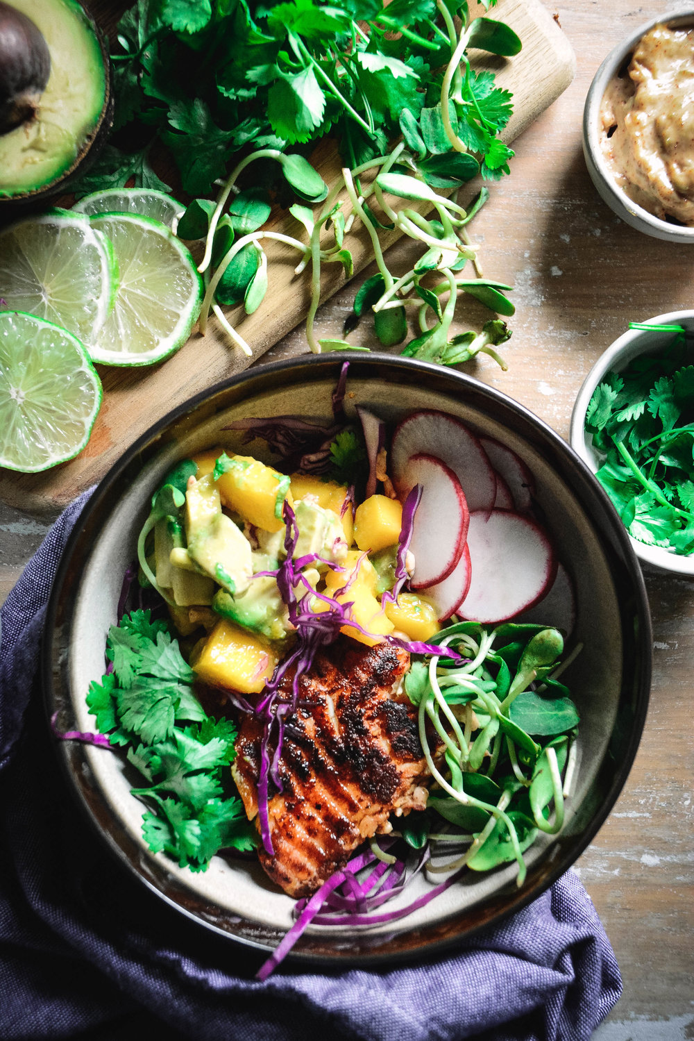 paleo fish taco bowl with mango salsa