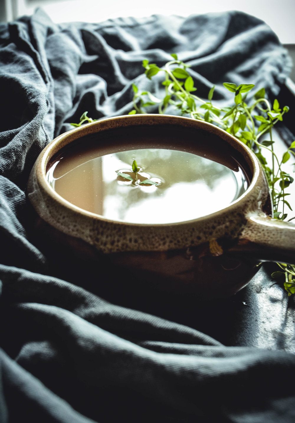 bone broth and thyme