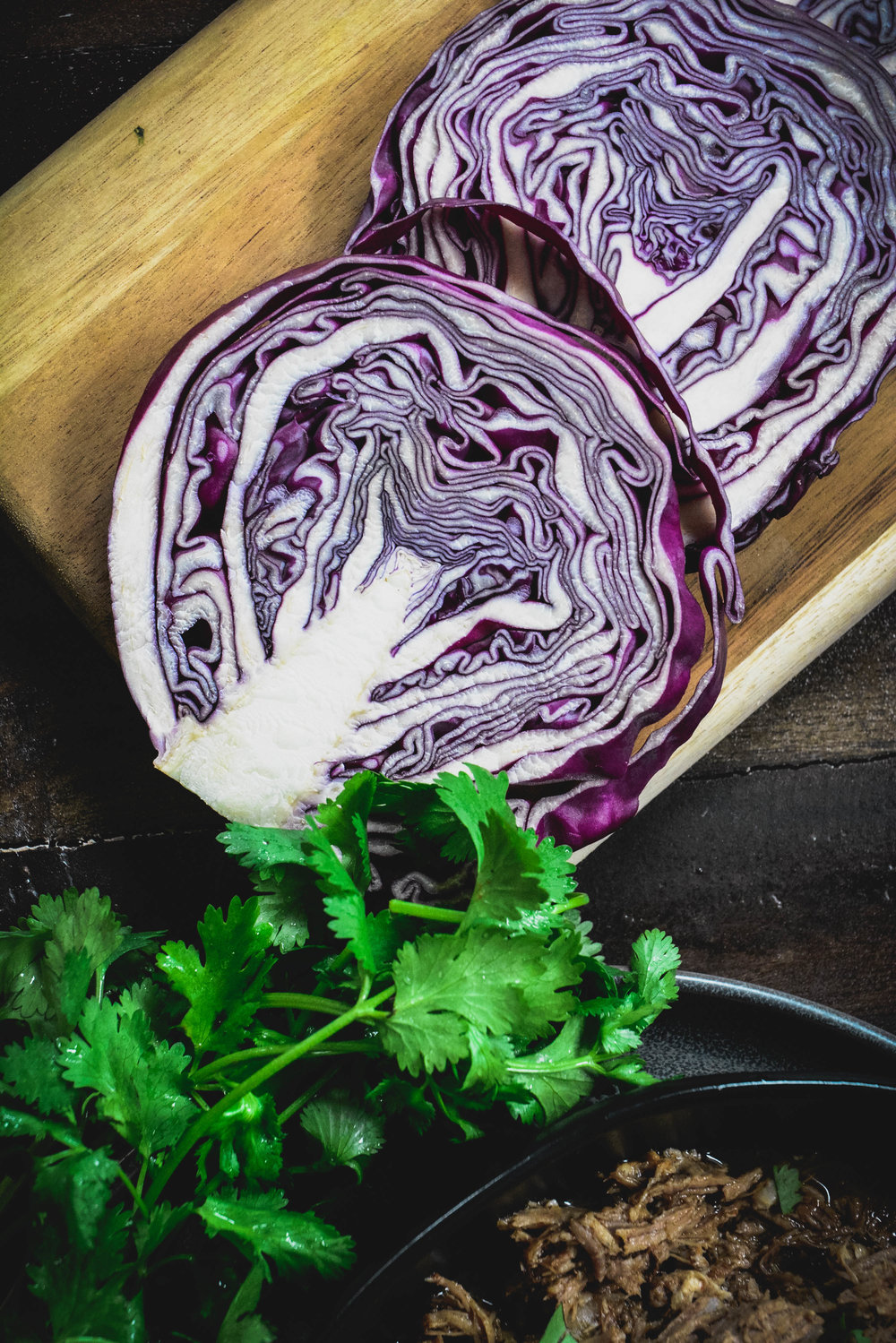 red cabbage, cilantro and pulled pork