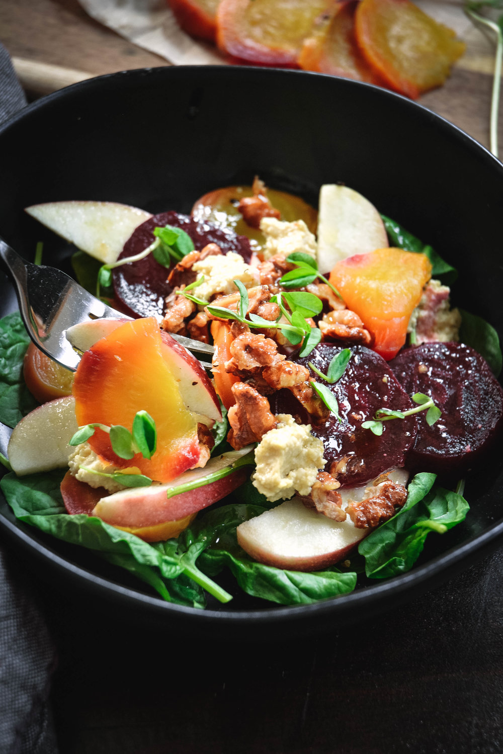 roasted beet salad with apple and candied walnuts