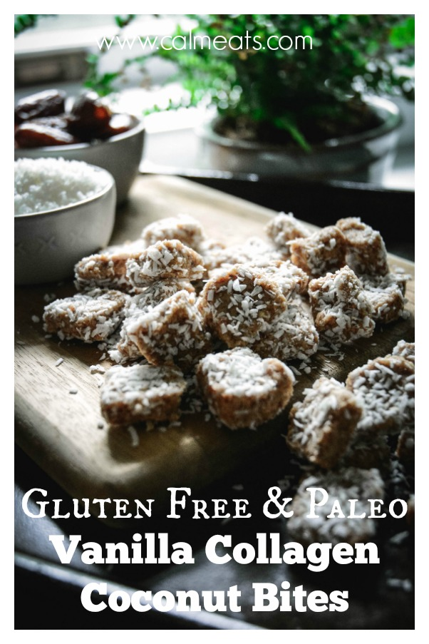 One of the best things you can do for your gut health is to take collagen on a regular basis. These tasty paleo vanilla collagen coconut bites are filled with collagen, coconut, almonds and almond butter. Check out this 5 minutes food processor recipe. #calmeats, #paleo, #paleodesserts, #guthealth, #collagen, #collagendessert, #healthy, #healthyrecipes