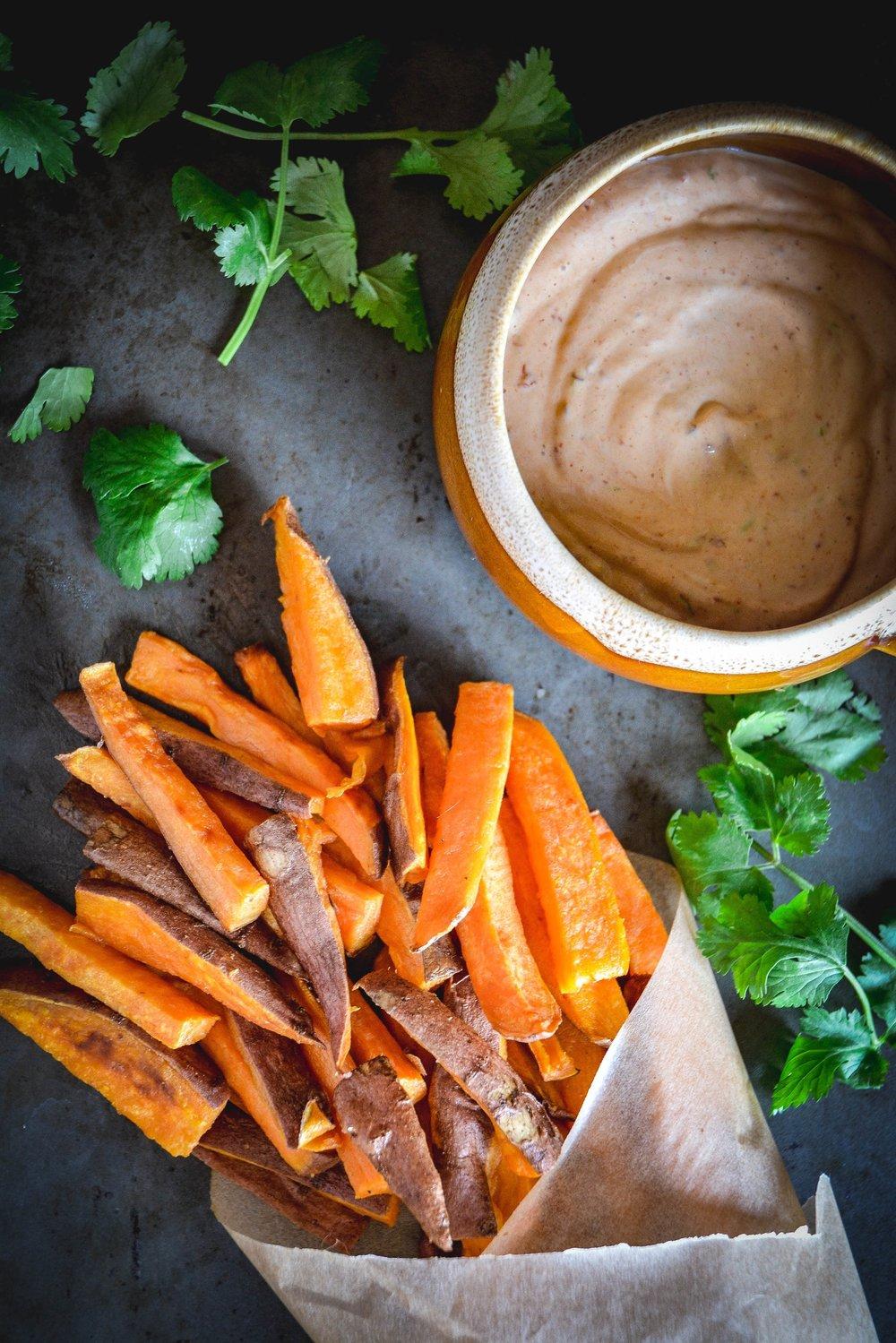 sweet potato fries, mayo and herbs