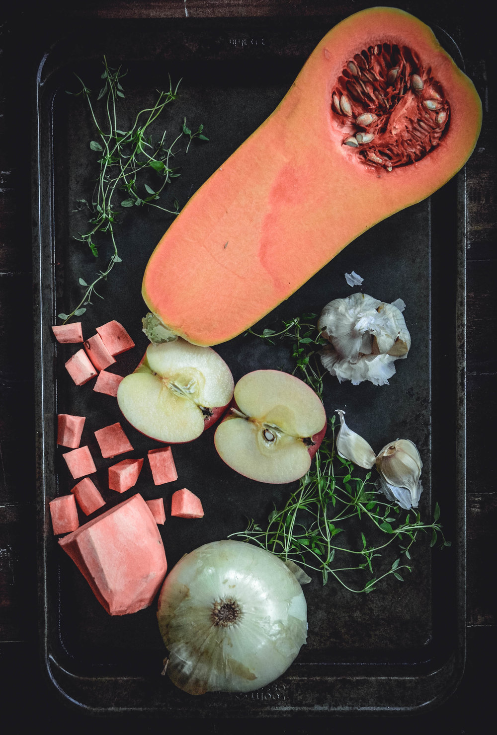 butternut squash, onion, garlic, sweet potato and thyme