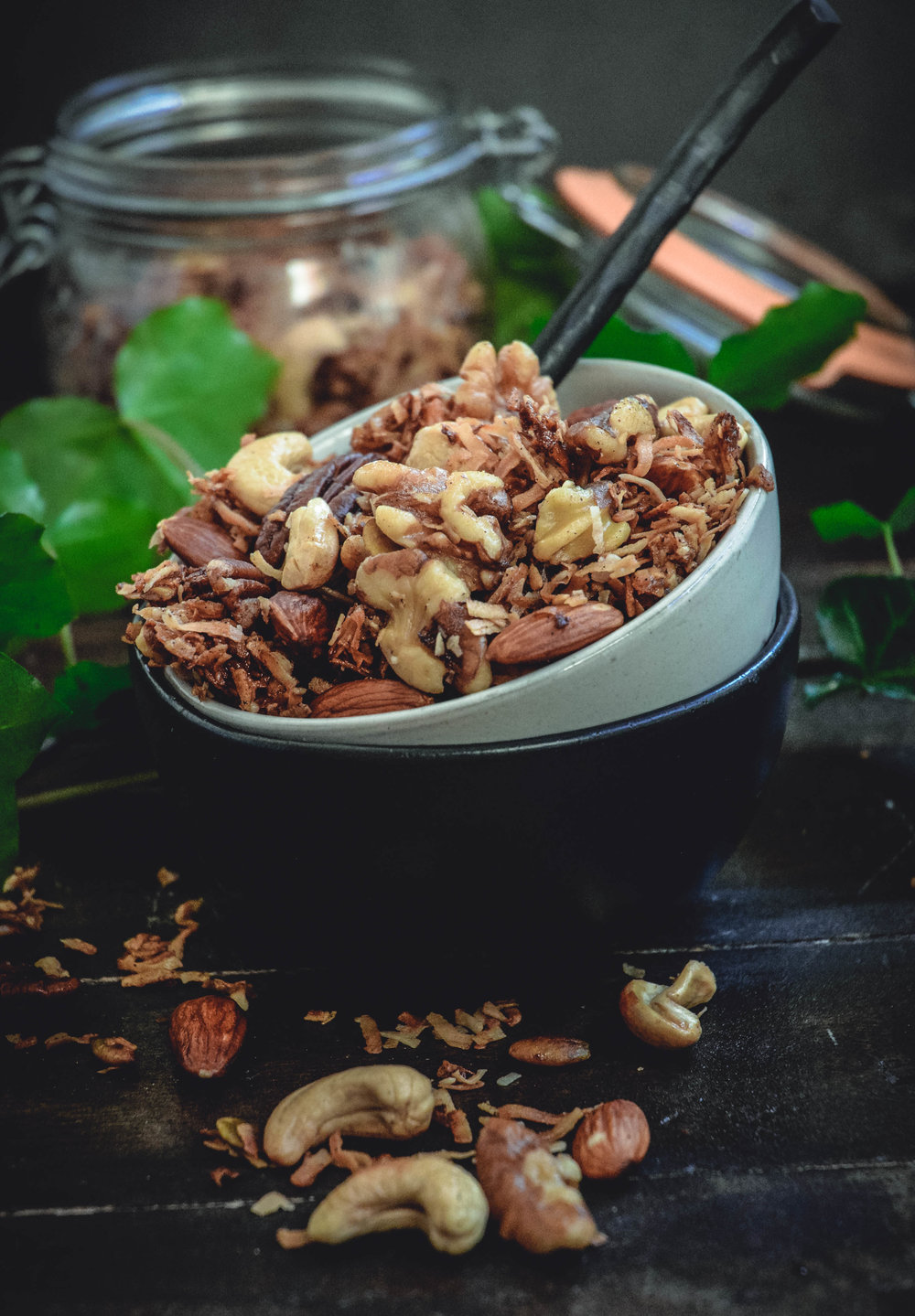 walnuts, pecans, almonds, coconut flakes, cashews, pumpkin seeds with jar