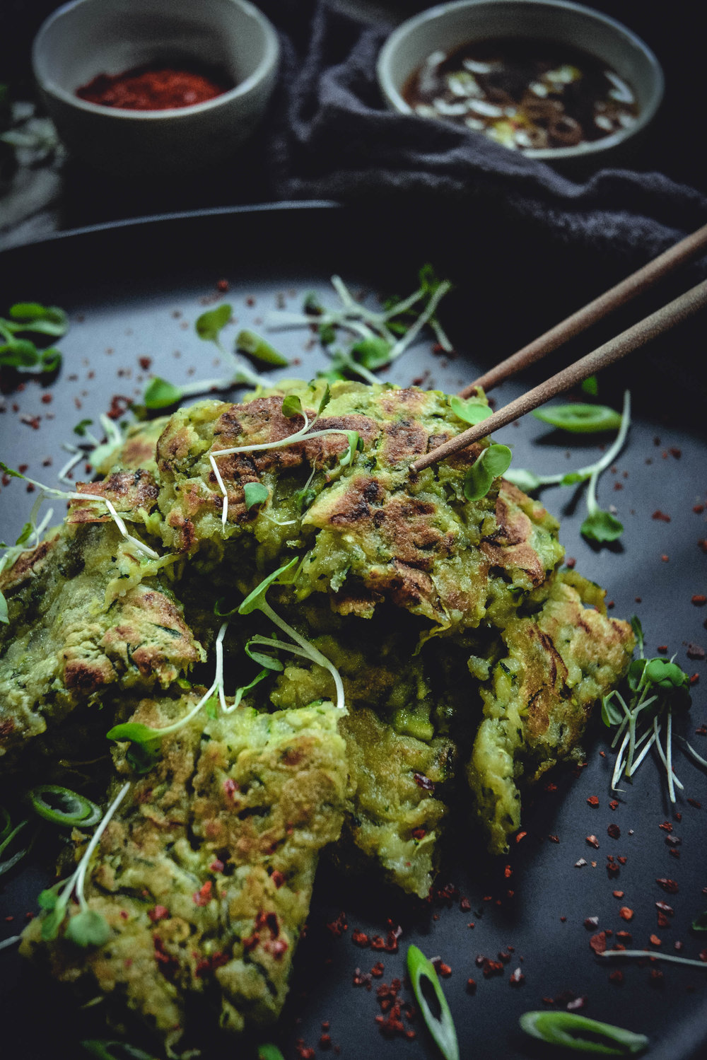 zucchini pancakes with sweet and sour dipping sauce