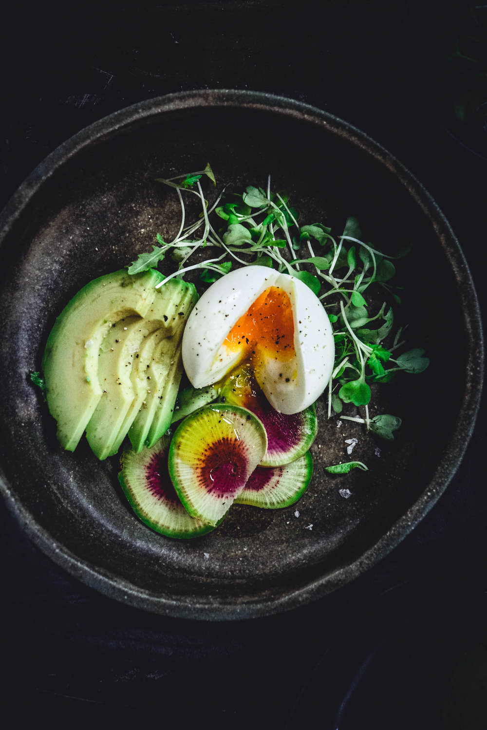 soft boiled eggs with radish and avocado
