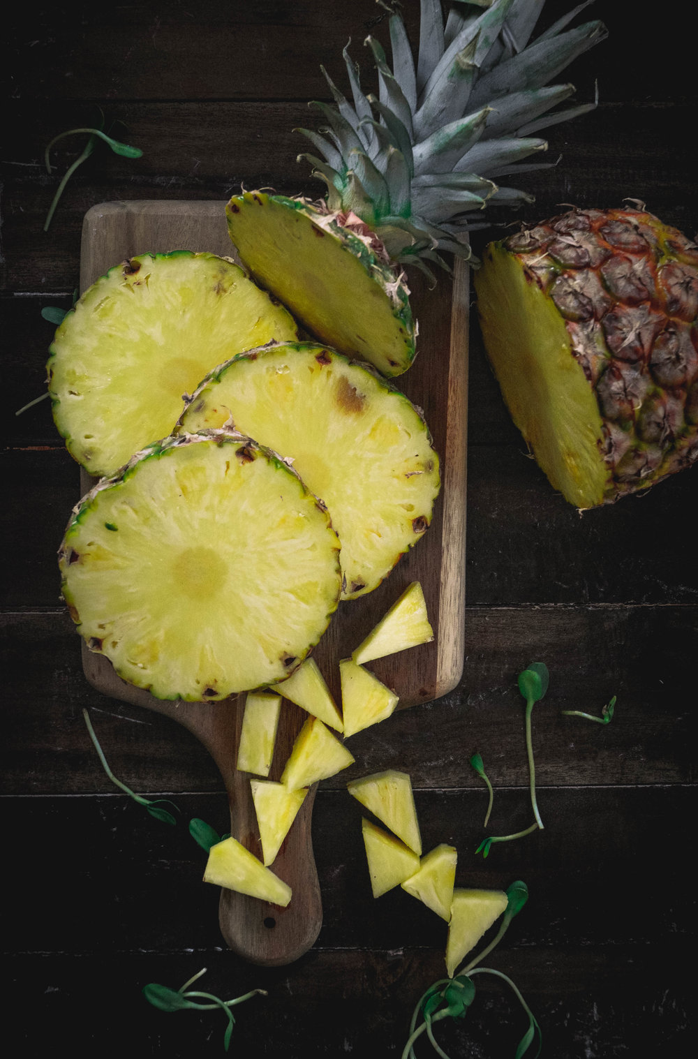 pineapple on cutting board