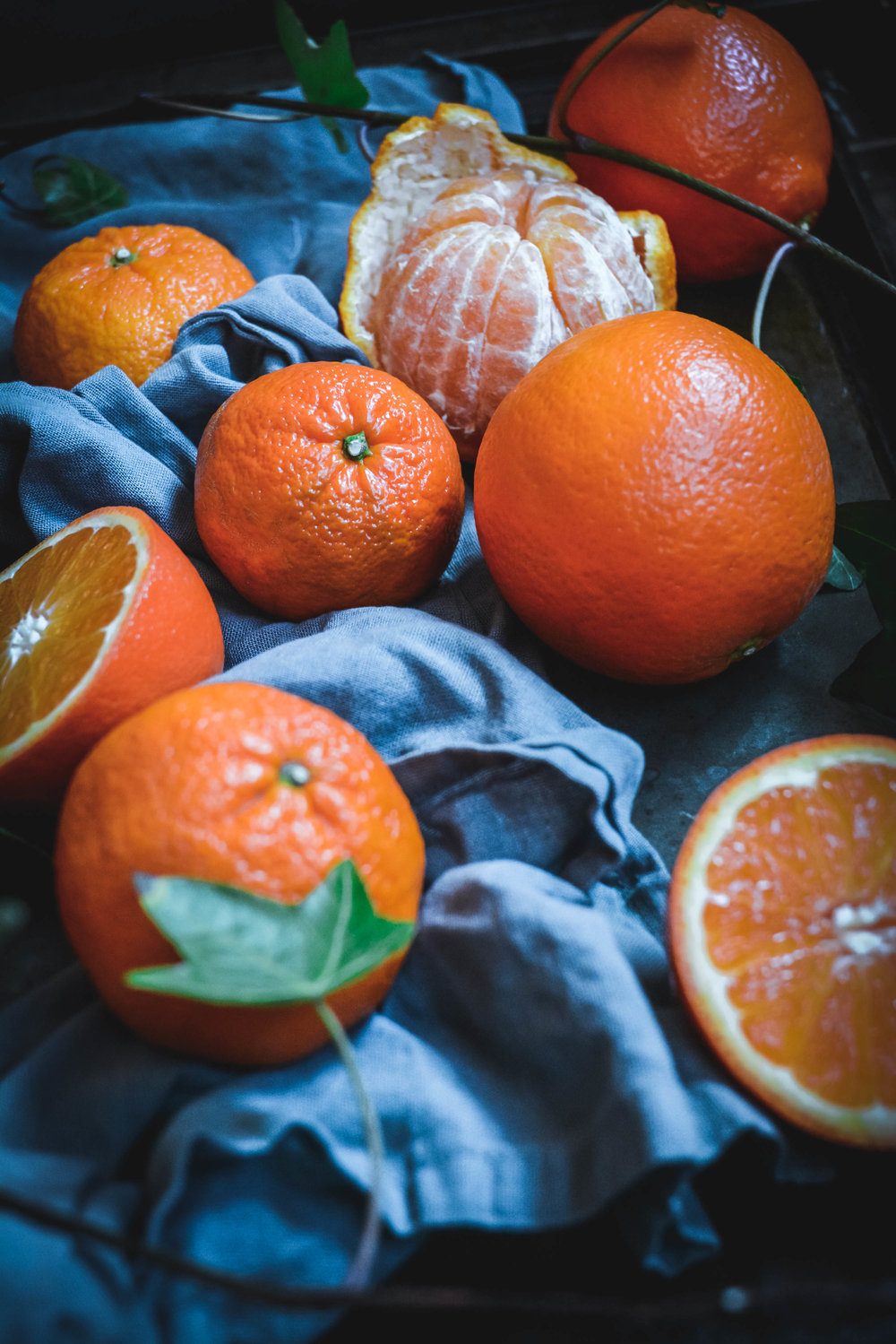 citrus on tray